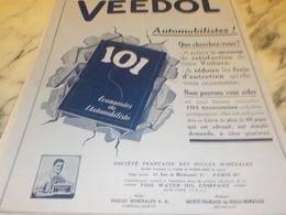 ANCIENNE PUBLICITE LIVRE  VEEDOL 1927 - Other