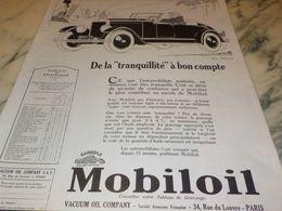 ANCIENNE PUBLICITE  TRANQUILLITE  HUILE MOBILOIL 1927 - Other