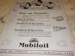 ANCIENNE PUBLICITE  POUR VOS VACANCES  HUILE MOBILOIL1927 - Other