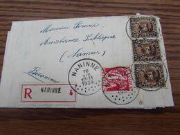 N° 339 + N° 341 (3X) Soit 2,50frs Sur Lettre Recommandée De NANINNE En 1934 (port Exact) - Postmark Collection