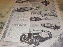 ANCIENNE PUBLICITE   HUILE DE SECURITE SPIDOLEINE 1927 - Other