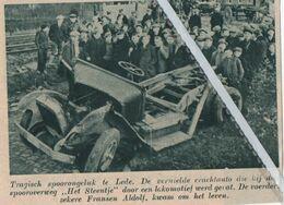"""LEDE..1937.. TRAGISCH SPOORONGELUK BIJ DEN SPOORWEG """" HET STEENTJE """" ALDOLF FRANSEN KWAM OM HET LEVEN - Non Classés"""