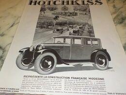 ANCIENNE PUBLICITE VOITURE CONSTRUCTION FRANCAISE MODERNE  HOTCHKISS 1927 - Other