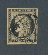 FRANCE - N° 3 OBLITERE GRILLE NOIRE - 1849 - 1849-1850 Cérès