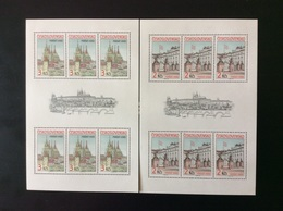 1985 2 Feuillets De 6 TP Neuf Château De Prague Cathédrale Saint Guy Vitus - Hojas Bloque
