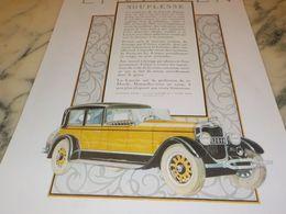 ANCIENNE PUBLICITE SOUPLESSE VOITURE LINCOLN 1927 - Cars