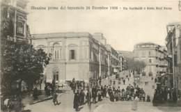 ITALIE MESSINA PRIMA DEL TERREMOTO 28 DICEMBRE 1908 VIA GARIBALDI PORTA REAL BASSE - Messina