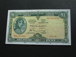1 One Pound  1974 - IRLANDE - The Central Bank Of Ireland   **** EN  ACHAT IMMEDIAT  **** - Irlanda
