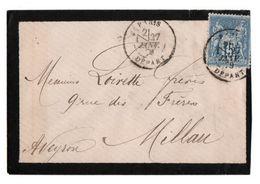France Enveloppe De Deuil Postée à Paris Trés Beau Et Pas Courant Cachet Type 15 Avec Section De Levée - 1876-1898 Sage (Type II)