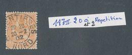 FRANCE - N° 117 OBLITERE CAD ARMENTIERES DU 20 FEVRIER 1902 20 ET 2 A REPETITION VARIETE - Variedades Y Curiosidades