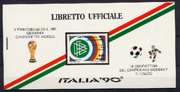 Italy 1990 Football Soccer World Cup Stamp Booklet With 6 Stamps And 3 Panes Of Vignettes MNH - Coupe Du Monde