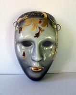 PROMO - Masque Vénitien En Céramique - Gris Dégradé Et Or - 15X10cm - Céramiques