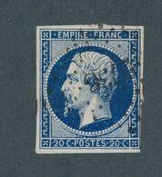 FRANCE - N° 14Ab) BLEU NOIR OBLITERE PC 2738 ROUEN - 1854 - 1853-1860 Napoléon III
