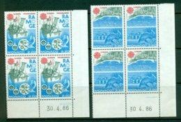 MONACO 1986 Mi 1746-47 Blocks Of Four** Europa CEPT – Environment Protection [A6406] - 1986