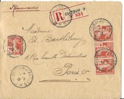 Env  Rec CAD Tresor Et Postes 9  24/51916  Affrt No 147x4 Pour PARIS  TTB - 1877-1920: Semi-moderne Periode