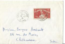 Env Cad BERNAY GARE 14/11/1936 Pour CHATEAUROUX  No 308 TTB - 1921-1960: Modern Tijdperk
