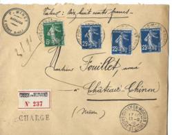 Env Chargée Cad CUSSY EN MORVAN 13/9/1910  Tarif 80ctmes  SUP - Marcophilie (Lettres)