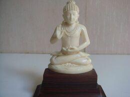 Ancien Statuette Bouddha En Ivoire Hauteur 9,5 Cm - Arte Asiatica