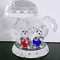 Steinpilzen, Champignons, Bären, Bären Wild Mushroom, Teddy Bear, Bears Mushroom Czech Lead Glass Crystal - Glas & Kristall