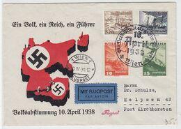Deutsches Reich Nicht Oft Angebotener Beleg 1938 Volksabstimmung Mit Dt.Reich/Österreich Frankatur SST Nach Helpsen - Briefe U. Dokumente