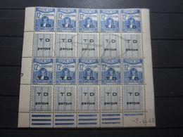 VEND BEAUX TIMBRES TAXES DE TUNISIE N° 56 EN BLOC DE 10 + BDF + CD , XX !!! - Tunisia (1888-1955)