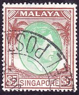 SINGAPORE 1951 KGVI $5 Green & Brown SG30 Used - Singapore (...-1959)