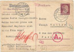 GERMANY ENTIER 15C REICH HITLER POSTKARTE DIESSEN (AMMERSEE) 5.8.1944 POUR PARIS CENSURE AE - 2. Weltkrieg 1939-1945