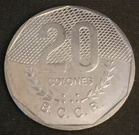 COSTA RICA - 20 COLONES 1983 - KM 216.1 - Lettres Du Ruban En Relief - Costa Rica