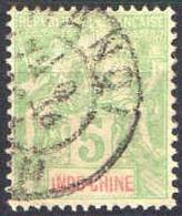 Indochine Poste Obl (Yv: 17 Mi  17) Yv:1,3 Euro Groupe Allégorique (Beau Cachet Rond) - Indochine (1889-1945)
