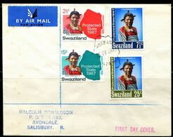 FP2002 Swaziland 1967 King Map Mailing Cover FDC - Swaziland (1968-...)
