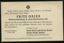 WW II Gedenk Totenkarte ,gefallen In Rumänien 1944: München Pasing - Cartas