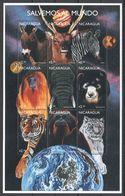 G895 NICARAGUA FAUNA WILD ANIMALS SPACE SALVEMOS AL MUNDO 1KB MNH - Andere