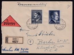 DR + B&M  R-Nachnahme-Brief Mit Misch-Fr.  DR.Mi.-Nr.  802 A + B&M Mi.-Nr. 110 - Occupation 1938-45