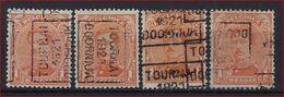 Koning Albert I Nr. 135 Voorafgestempeld Nr. 2657 A + B + C + D  TOURNAI 1921 DOORNIJK  ; Staat Zie Scan ! - Rolstempels 1920-29