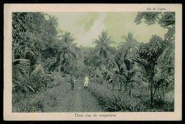 SÃO TOMÉ E PRÍNCIPE - Uma Rua De Coqueiros.  ( Ed. M. Lopes) Carte Postale - São Tomé Und Príncipe