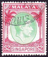SINGAPORE 1951 KGVI $2 Green & Scarlet SG29 Used - Singapore (...-1959)