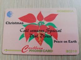 DOMINICA   GPT $ 10,-   CHRISTMAS  POINTSETTA FLOWER           DOM-53A    53CDMA    Fine Used Card  ** 2818** - Dominica