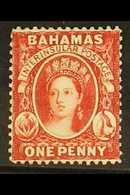1863-77 1d Scarlet-vermilion, Deeper Shade, Wmk Crown CC REVERSED, Perf.14, SG 33x, Never Hinged Mint, BP Basel Certific - Bahamas (...-1973)