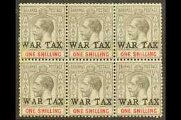 "1918 (Feb-Jul) 1s Grey-black & Carmine ""WAR TAX"" Overprint, SG 95, Mint BLOCK Of 6, Two Small Light Toned Spots, Very Sc - Bahamas (...-1973)"