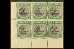 1942 3s Slate Purple & Myrtle Green, SG 173, NHM Lower Left Corner Block Of 6 With Lightly Toned Gum For More Images, Pl - Bahamas (...-1973)