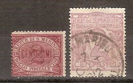 (Fb).San Marino.1894/1903.Lotto.2c** Carminio, Nuovo, Gomma Integra + 2c Violetto Usato (206-18) - San Marino