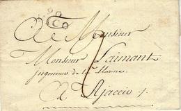 1818- Lettre De 90 / VICO  ( Corse) 23 1/2 X11 Mm  Pour Ajaccio - 1801-1848: Precursores XIX