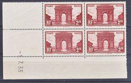 France  258 Arc De Triomphe Coin Daté 1 7 33 Trace De Charnière En Marge Timbres Neuf ** B  MH Con Charnela Cote 430 - 1930-1939