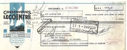 Traite 1938 / 94 VINCENNES / ILE DE CROIX- LE GUILVINEC - NOIRMOUTIER / Conserveries LECOINTRE / Timbres Fiscaux - Cambiali