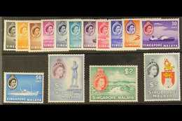 1955-59 Definitives Complete Set, SG 38/52, Very Fine Never Hinged Mint. (15 Stamps) For More Images, Please Visit Http: - Singapore (...-1959)