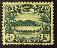 "1908-11 ""Small Canoe"" 5s Green/yellow, SG 17, Fine Lightly Used. For More Images, Please Visit Http://www.sandafayre.com - British Solomon Islands (...-1978)"