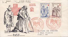 France Premier Jour Lettre FDC Cover NIORT 1957 Red Cross Croix Rouge Rotes Kreuz Enveloppe Historique No. 225 - 1950-1959