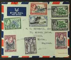 BARAKOMA AIRFIELD 1956 (Jan) Airmail Envelope (and Enclosed Typed Letter From Rev. T. Shepherd) To England, Bearing KGVI - British Solomon Islands (...-1978)