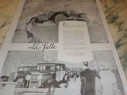 ANCIENNE PUBLICITE VOITURE POUR EXIGENCES LA SALLE 1927 - Cars