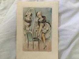 GRIVOISERIE / NU FEMME / MASTURBATION SOUS ROBE À FROUFROU - Gravures